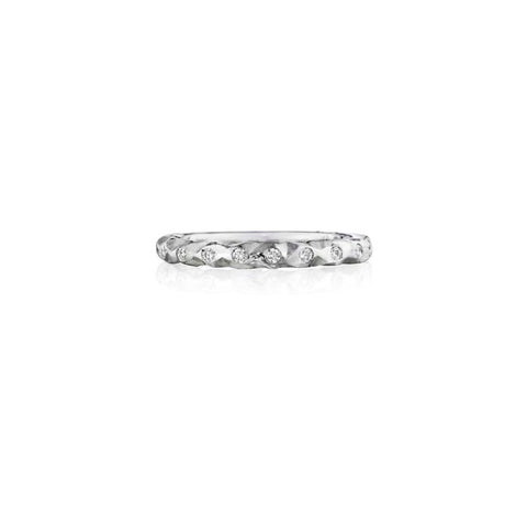 Henri Daussi Wedding Band 14K White Gold Ring with .11CTW Diamonds