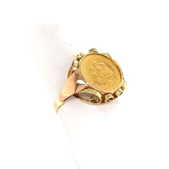 Estate Mexican Coin Ring 14K Yellow Gold with 1945 Mexican Pesos Coin
