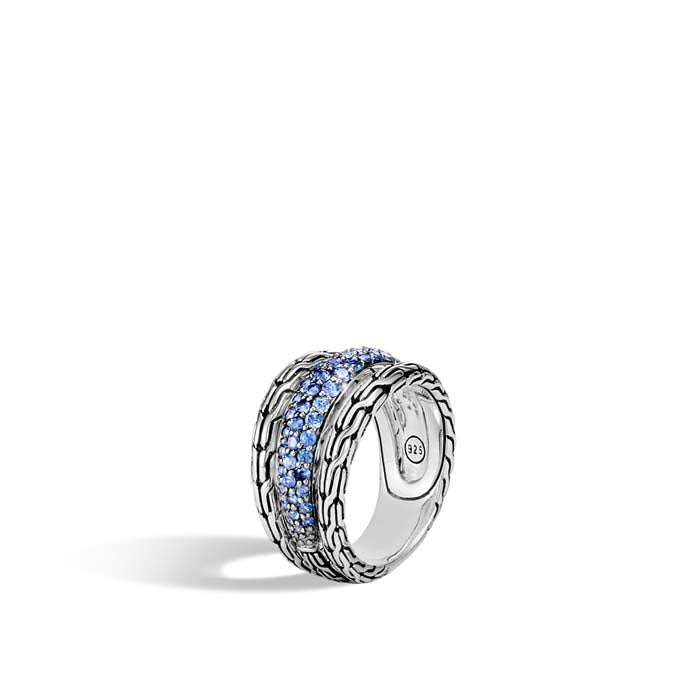 John Hardy Blue Sapphire Classic Chain Ring in Sterling Silver