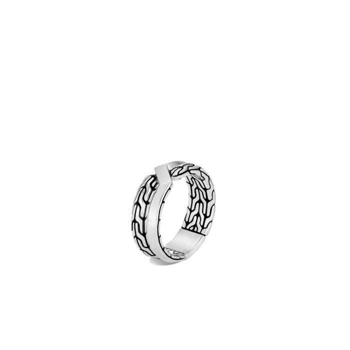 John Hardy Mens Asli Classic Chain Link Sterling Silver Band Ring