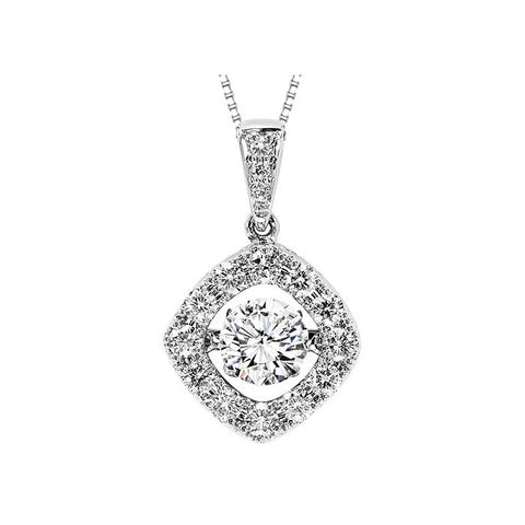 Gemsone 1.01CTW Rhythm of Love Collection Halo Pendant in 14K White Gold
