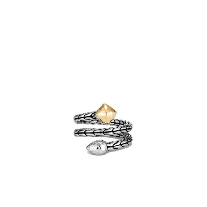 John Hardy Classic Chain Hammered Sterling Silver and 18K Yellow Gold Wrap Ring