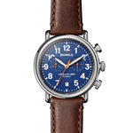 "Shinola 41MM ""THE RUNWELL CHRONO"" Stainless Steel & Leather Strap Watch"