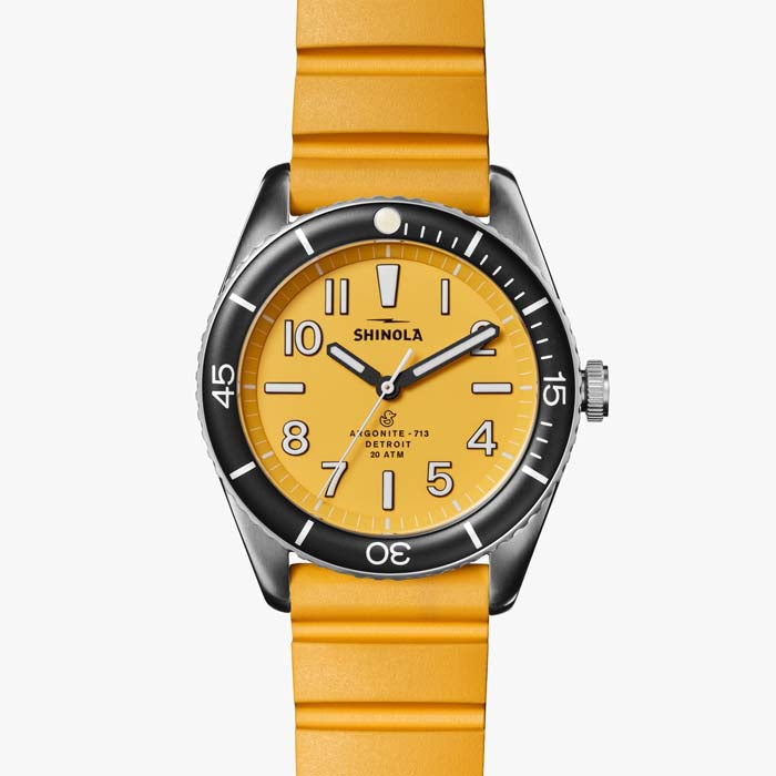 "Shinola 42MM ""Duck"" Quartz Watch with Canary Dial in Stainless Steel with Rubber Strap"
