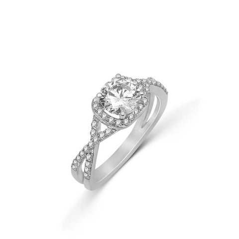 Fana Bridal .38CTW Halo Engagement Ring Semi Mount with Criss-Cross shoulders in 14K White Gold
