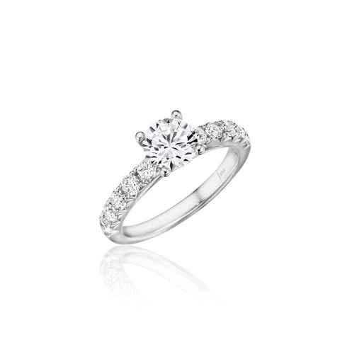 Fana Bridal .60CTW Engagement Ring Semi Mount with diamonds on the shoulder, and Surprise diamonds under center head, 14K White Gold
