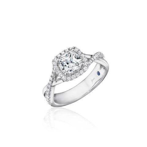 Fana Bridal .36CTW Cushion Halo Engagement Ring Semi Mount with Twist Diamond Shoulders in 14K White Gold
