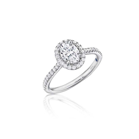 Fana Bridal .35CTW Oval Halo Semi Mount in 14K White Gold