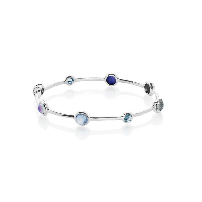 Ippolita Rock Candy Collection Sterling Silver Eclipse Eight Station Bangle Bracelet