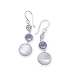 Ippolita Lollipop Lollitini Sterling Silver Three Stone Blue Topaz, Amethyst, and Mother of Pearl Drop Earrings