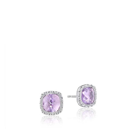 Tacori Crescent Embrace Rose Amethyst Petite Stud Earrings in Sterling Silver
