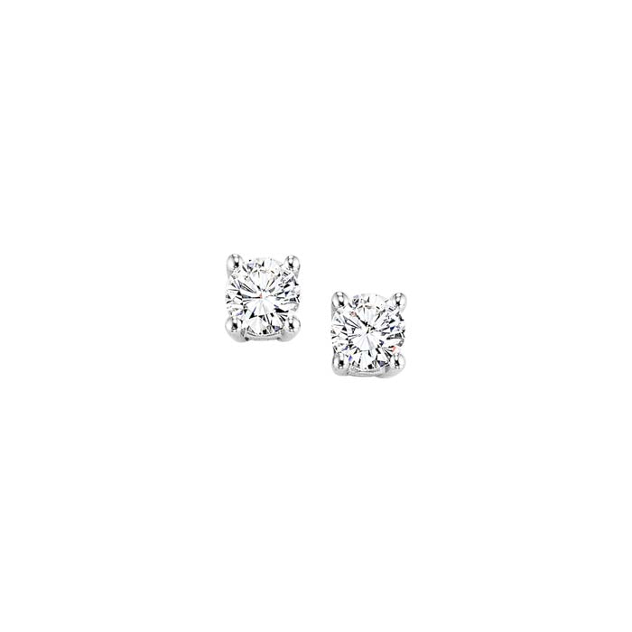 Mountz Collection .18-.22TW Round Diamond 4 Prong Stud Earrings in 14K White Gold