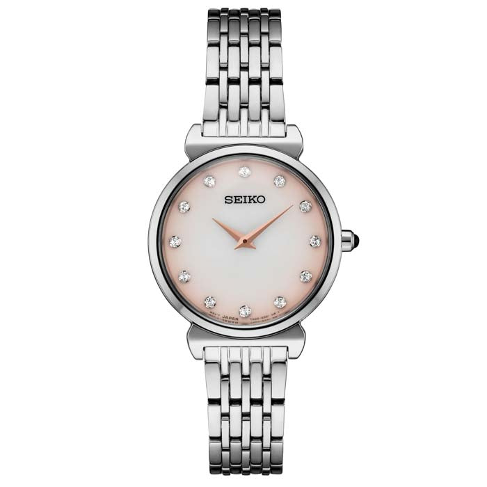 Seiko 30MM Pink and White Dial Ladies Watch SST