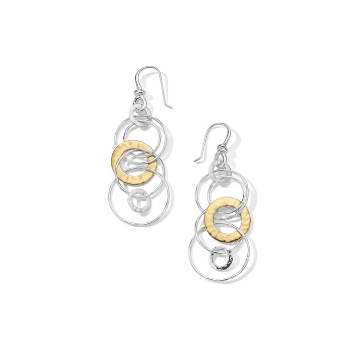 Ippolita Two-Tone Classico Hammered Jet Set Earrings in S/S and 18K Yellow Gold