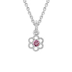 Mountz Collection Pink Tourmaline Flower Pendant in Sterling Silver