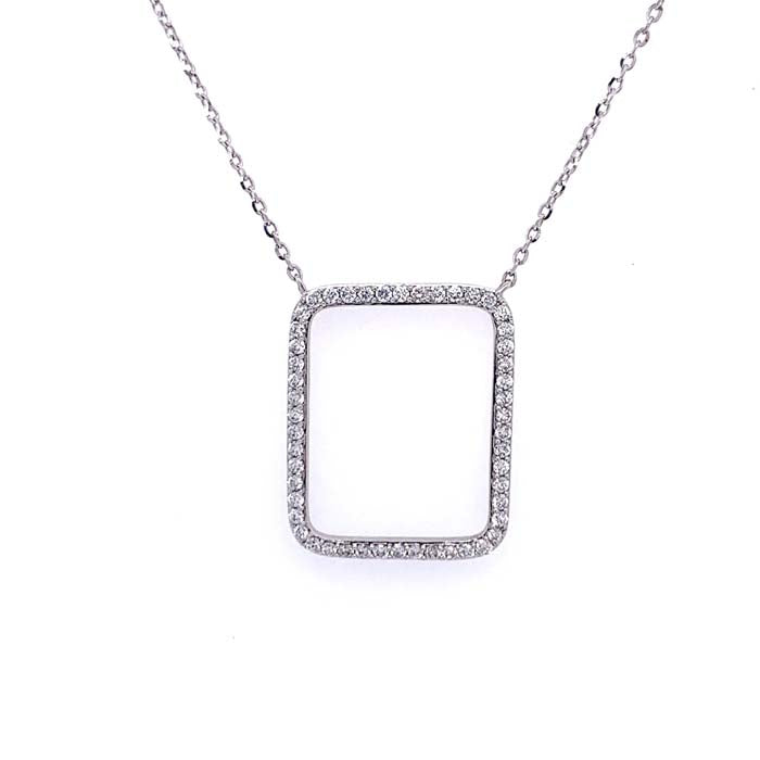 Mountz Collection .31CTW Open Cushion Shaped Diamond Pendant in 18K White Gold