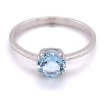 Mountz Collection Aquamarine Round Fashion Ring in 14K White Gold