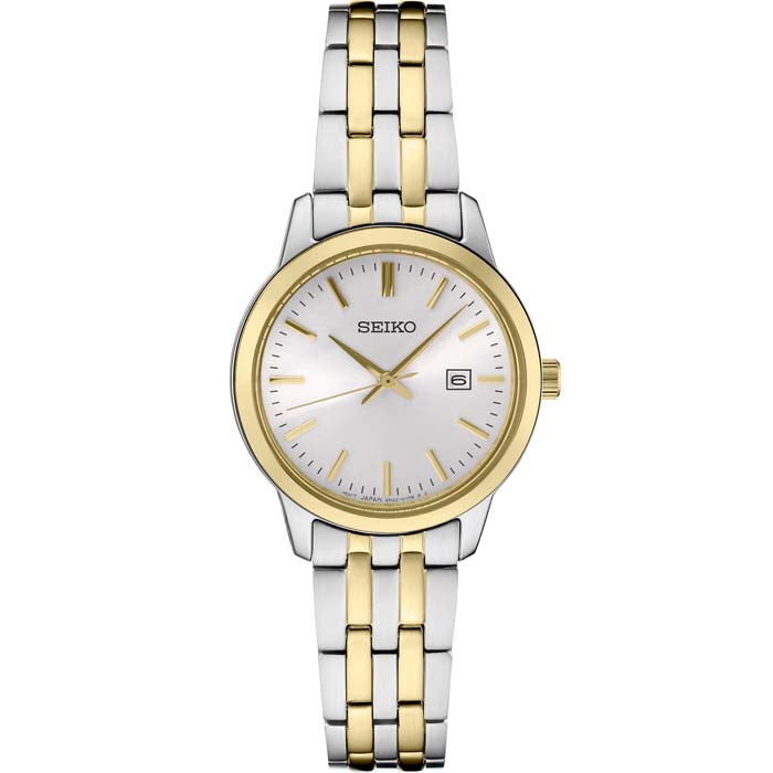 Seiko 30MM White Dial Goldtone and Stainless Steel Watch