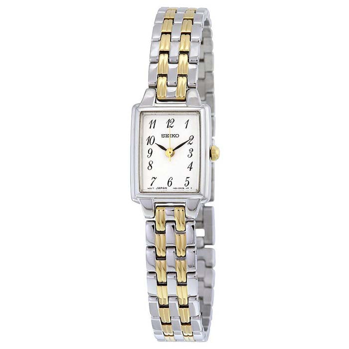 Seiko 17MM White Rect Dial Gold-tone & SST Watch