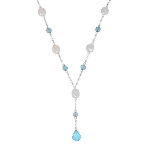 "Honora ""Y"" Necklace with Sky Blue Topaz and White Keshi Pearls in Sterling Silver"