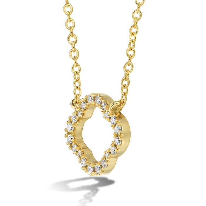 Hearts On Fire .07-.12CTW Signature Petal Pendant in 18K Yellow Gold