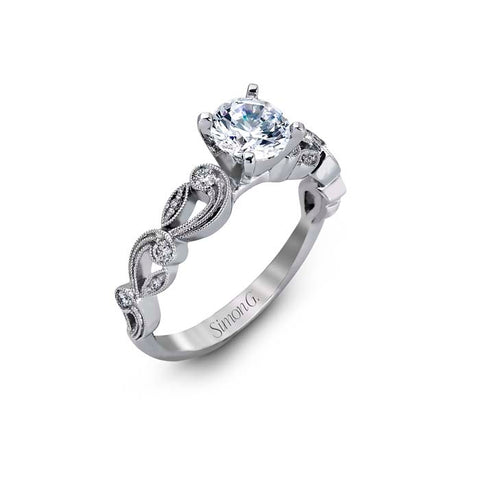 Simon G Engagement Ring Semi Mount 18K White Gold with .15CTW Diamonds