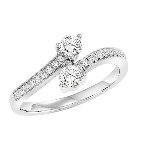 Gemsone TWOgether Collection Bypass 14K White Gold Ring with .49CTW Diamonds