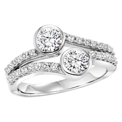 Gemsone TWOgether Collection Bezel 14K White Gold Ring with .50CTW Diamonds