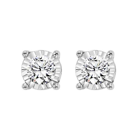 Mountz Collection .10TW Illusion Diamond Stud Earrings in 14K White Gold