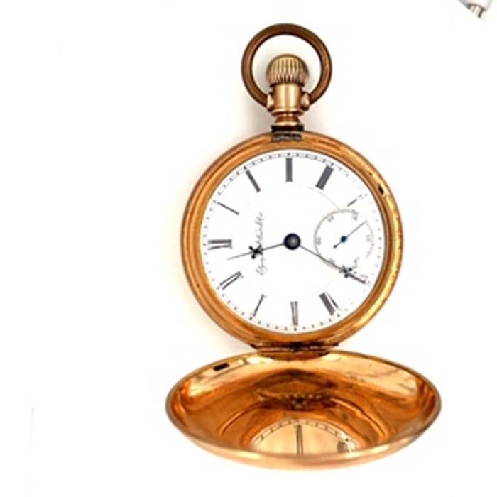 Estate Elgin Pocket Watch in 14K Yellow Gold Plated with White Dial