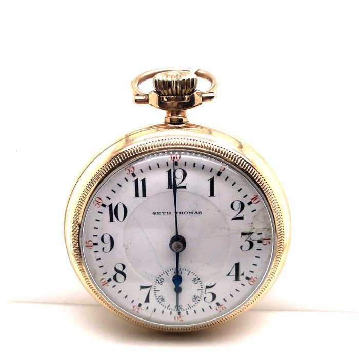 Estate Seth Thomas Pocket Watch in 12K Yellow Gold Filled with a White Dail