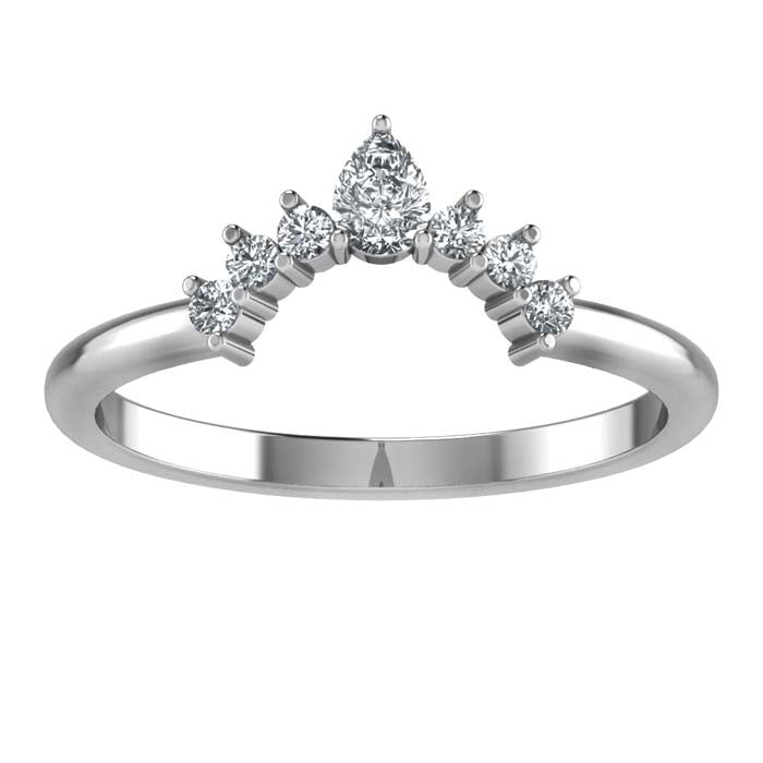 True Romance .22-.26TW Scalloped Wedding Band with Pear and Round Brilliant Cut Diamonds 14K White Gold