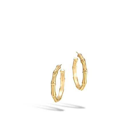 John Hardy Bamboo 18K Gold Medium Hoop Earrings (Dia 31mm)
