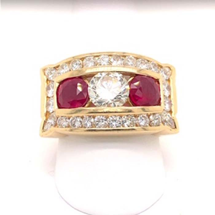 Estate 3.8CT Ruby and Diamond Gents Channel Band Ring in 14K Yellow Gold