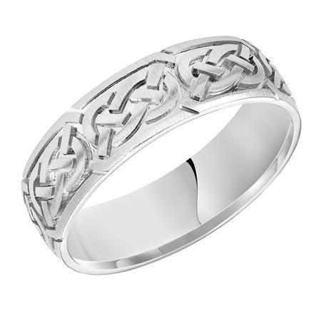 Goldman Men's 6.5MM Wedding Band with Etched Satin Finish Celtic Knot Design in 14K White Gold