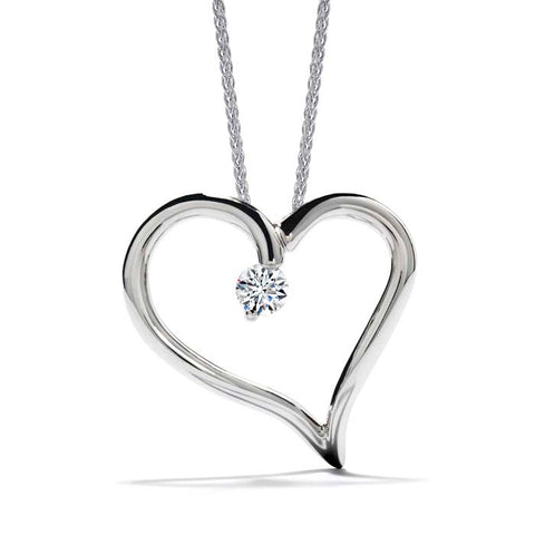 Hearts on Fire .11-.13CTW Amorous Single Heart Pendant in 18K White Gold