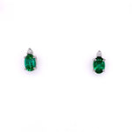 Mountz Collection Emerald and Diamond Stud Earrings in 14K White Gold