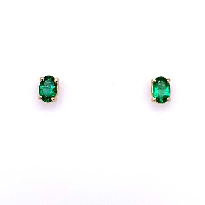 Mountz Collection 6x4MM Oval Emerald Stud Earrings in 14K Yellow Gold