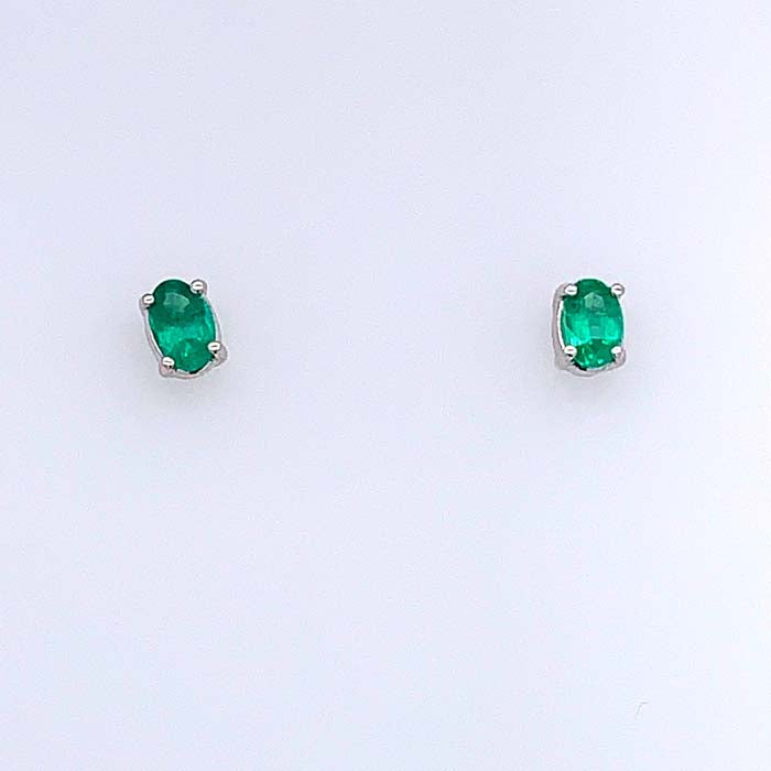 Mountz Collection .72TW Emerald Stud Earrings 14K White Gold