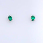 Mountz Collection Emerald Stud Earrings 14K White Gold