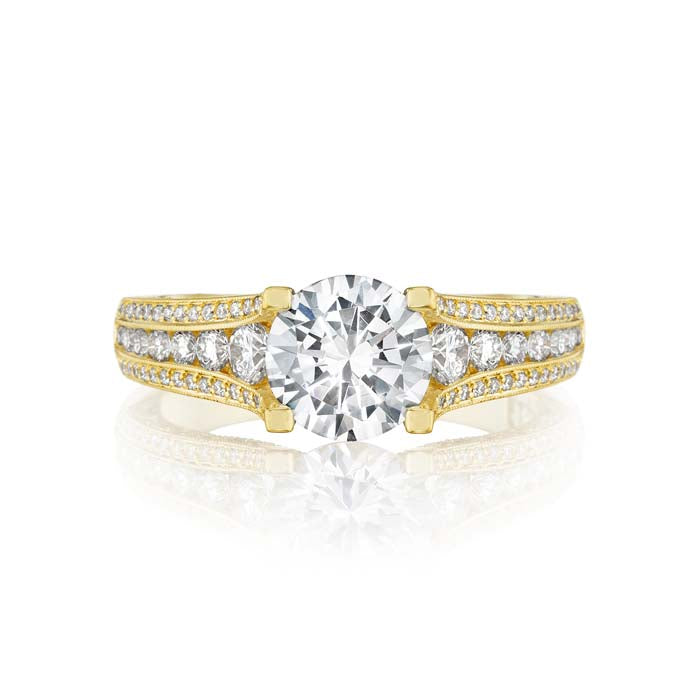 Tacori Gold Classic Crescent Engagement Ring Semi Mount in 18K Yellow Gold with Diamonds