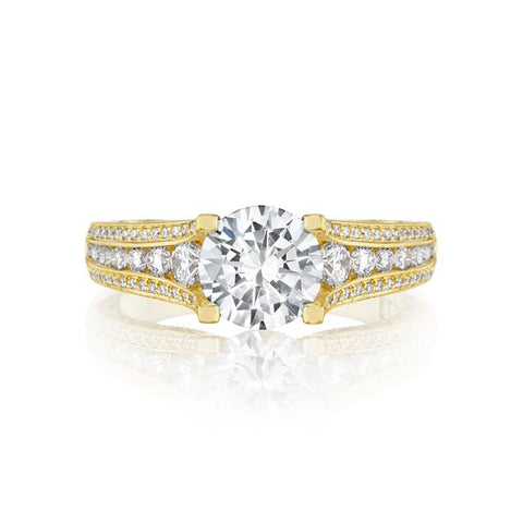 Tacori Gold Classic Cresent Engagement Ring Semi Mount in 18K Yellow Gold with Diamonds