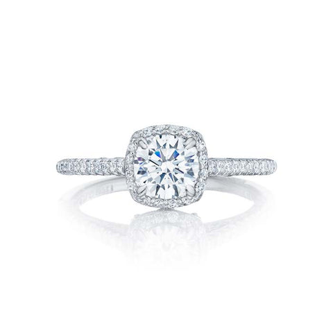 Tacori Petite Crescent Engagement Ring Semi Mount in 18K White Gold with Diamonds