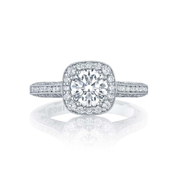 Tacori Classic Crescent Engagement Ring Semi Mount in 18K White Gold with Diamonds