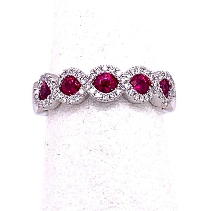 Fana Band 14K White Gold Ring with Ruby and Diamonds
