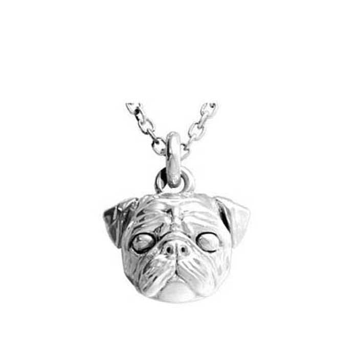 "Dog Fever Pug Pendant, Sterling Silver with 23.6"" Cable Chain"