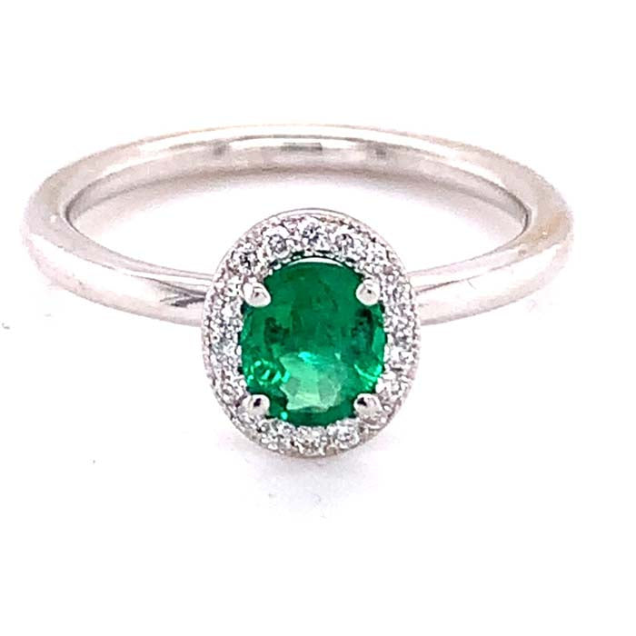 Mountz Collection 7x5MM Oval Emerald Diamond Halo Ring in 14K White Gold