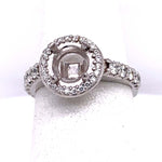"Estate .83CTW ""A. Jaffe"" Halo Semi Mount in 18K White Gold"