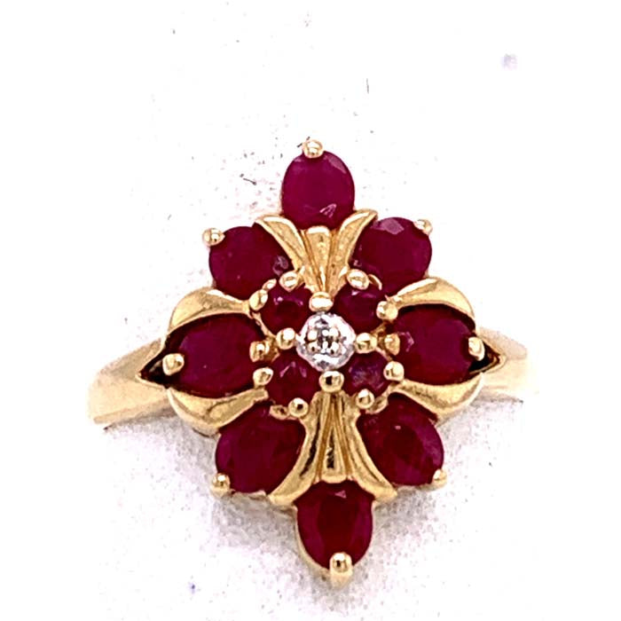 Estate Ruby Fashion Ring with Single Cut Diamond in 14K Yellow Gold