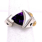 "Estate Amethyst ""John Atencio"" Trillion Ring in Sterling Silver and 18K Yellow Gold"